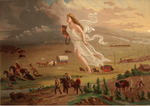 "The feminized figure of ""American Progress"" leads settlers, miners, and traders from East to West"