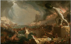 Depicts the destruction of a once glorious empire by battling armies and the volatile forces of nature including ominous thunderclouds, a storm-tossed sea, and raging fires. The bridge at center collapses under the weight of clashing armies.
