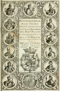 Engraving in Tordesillas' Historia general, c. 1611