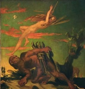 David Scott's painting of Ariel and Caliban
