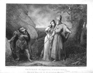 C. W. Sharp's engraving of Caliban, Miranda, and Prospero