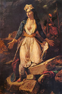 Eugene Delacroix's painting of Greece Expiring on the Ruins of Missolonghi