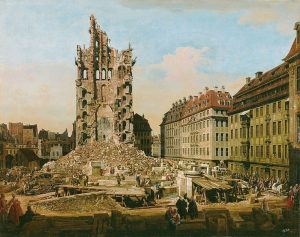 Bellotto's painting of the ruins of the Church of the Holy Cross, Dresden