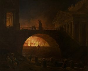 Hubert Robert's painting of Rome burning