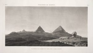 Plate from the Napoleonic survey of Egypt depicting the pyramids and sphinx in Memphis