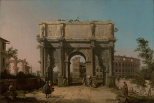 Canaletto's painting of the Arch of Constantine and the Colosseum