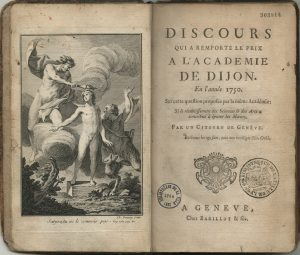 Frontispiece to Rousseau's First Discourse depicting Prometheus and satyr