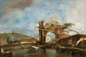 Capriccio with ruins and riverbank by Guardi