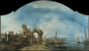 Guardi's painting of a fantastic landscape with ruins and ships