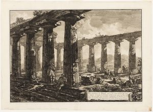 Piranesi's etching of the interior of a temple at Paestum
