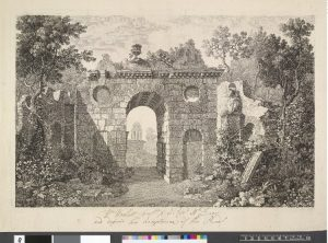 Etching of the artificial ruins at Kew