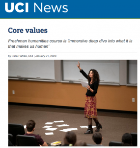 Image of UCI News article on Humanities Core