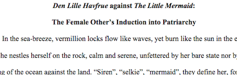 "Image of a student paper on ""Den Lille Havfrue against The Little Mermaid"""