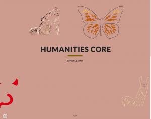 Image of a colorful page from a student website