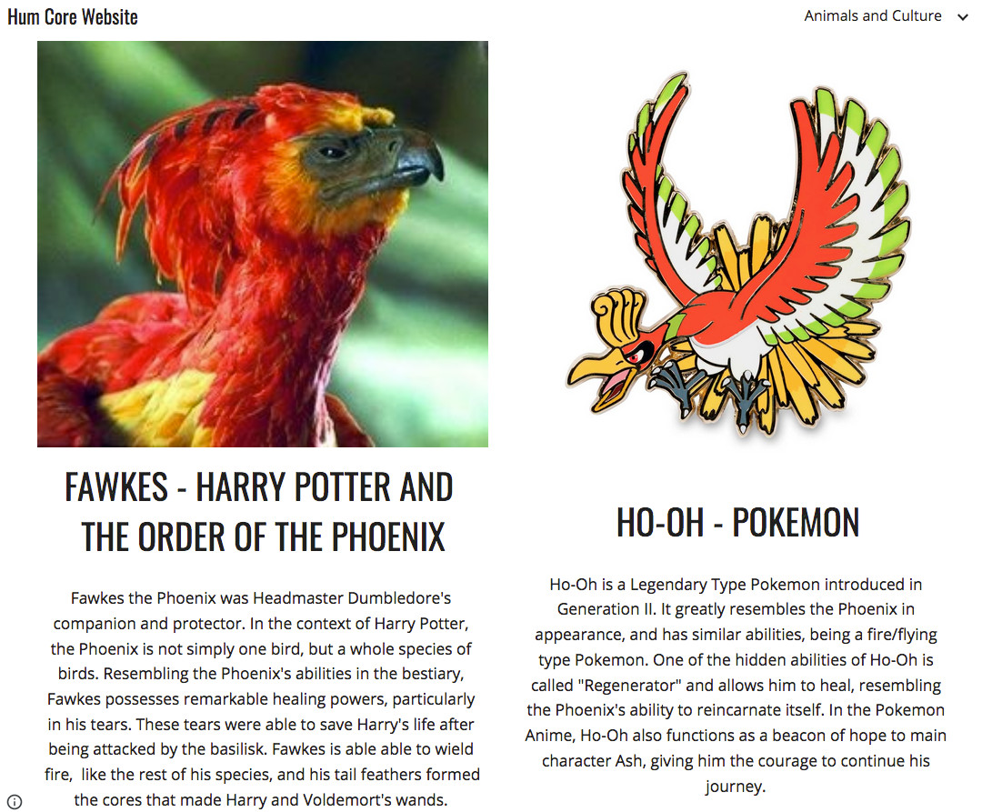 Image of a student webpage on the phoenix