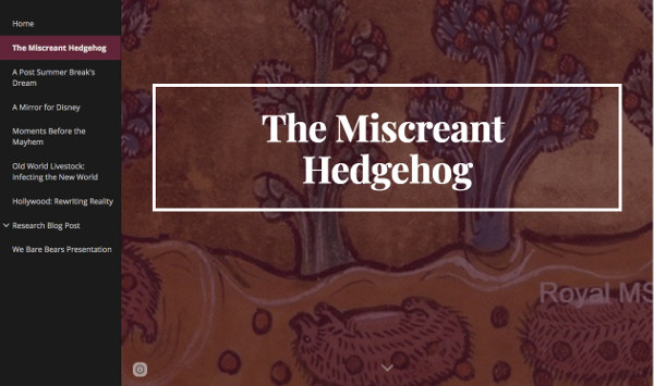 Image of a student website page on hedgehogs