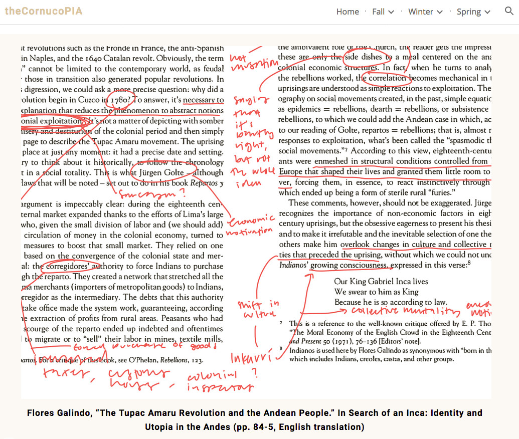 Image of a student webpage of annotations