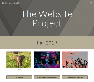Image of a student webpage