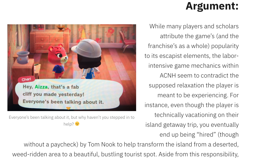 Image from a student website on Animal Crossing